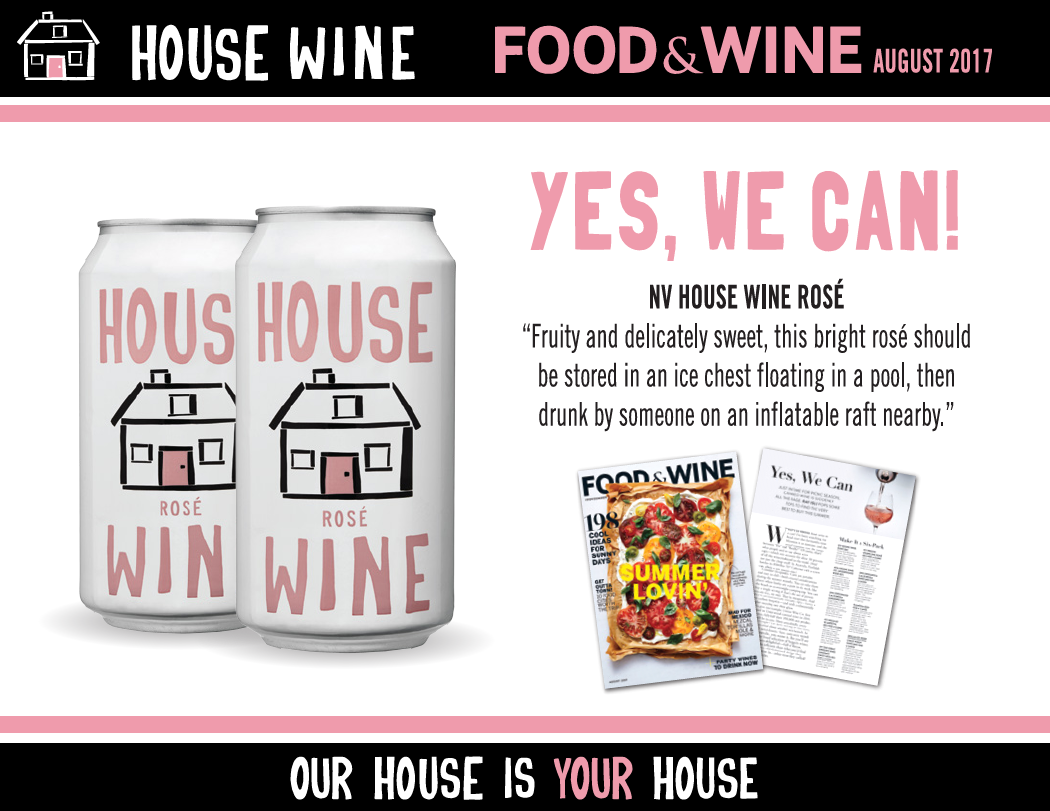 Food & Wine review of House Wine Rosé can