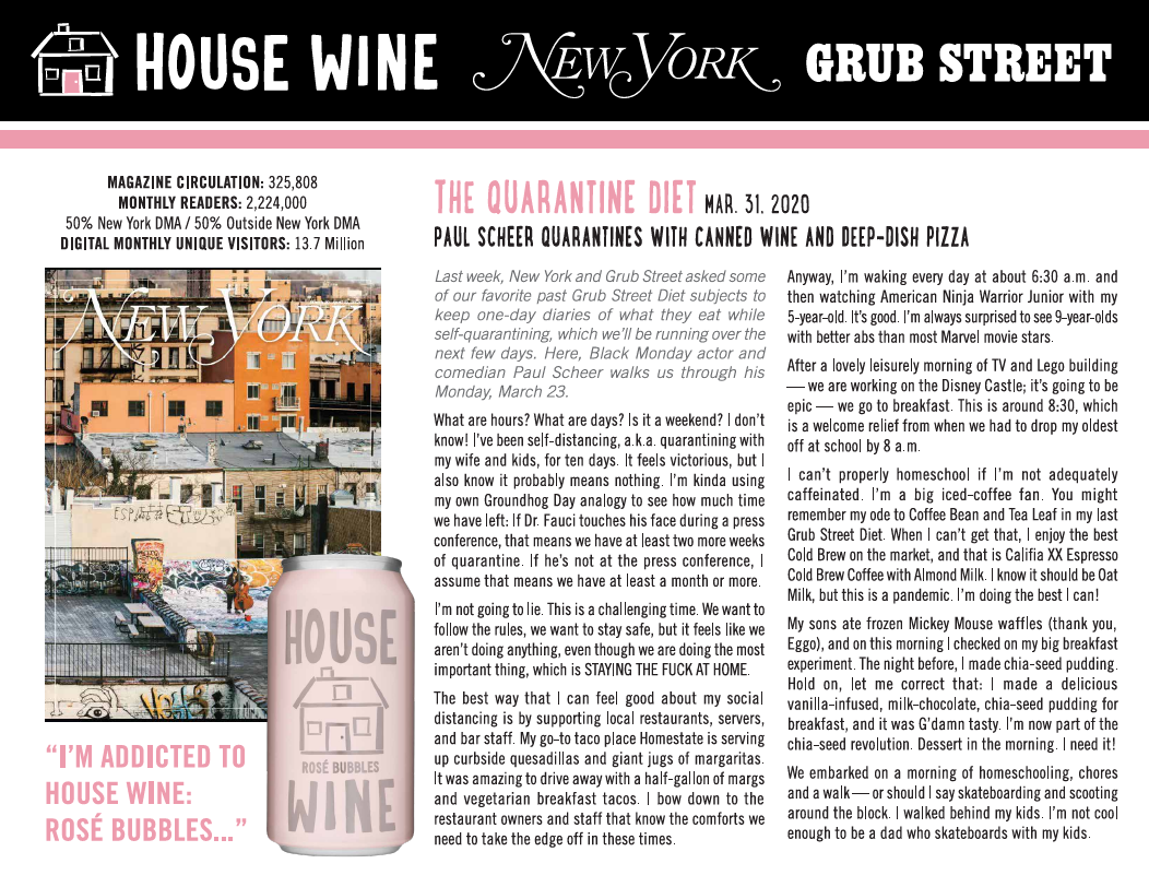 "House Wine Rosé Bubbles can in New York Magazine Grub Street article ""The Quarantine Diet"""