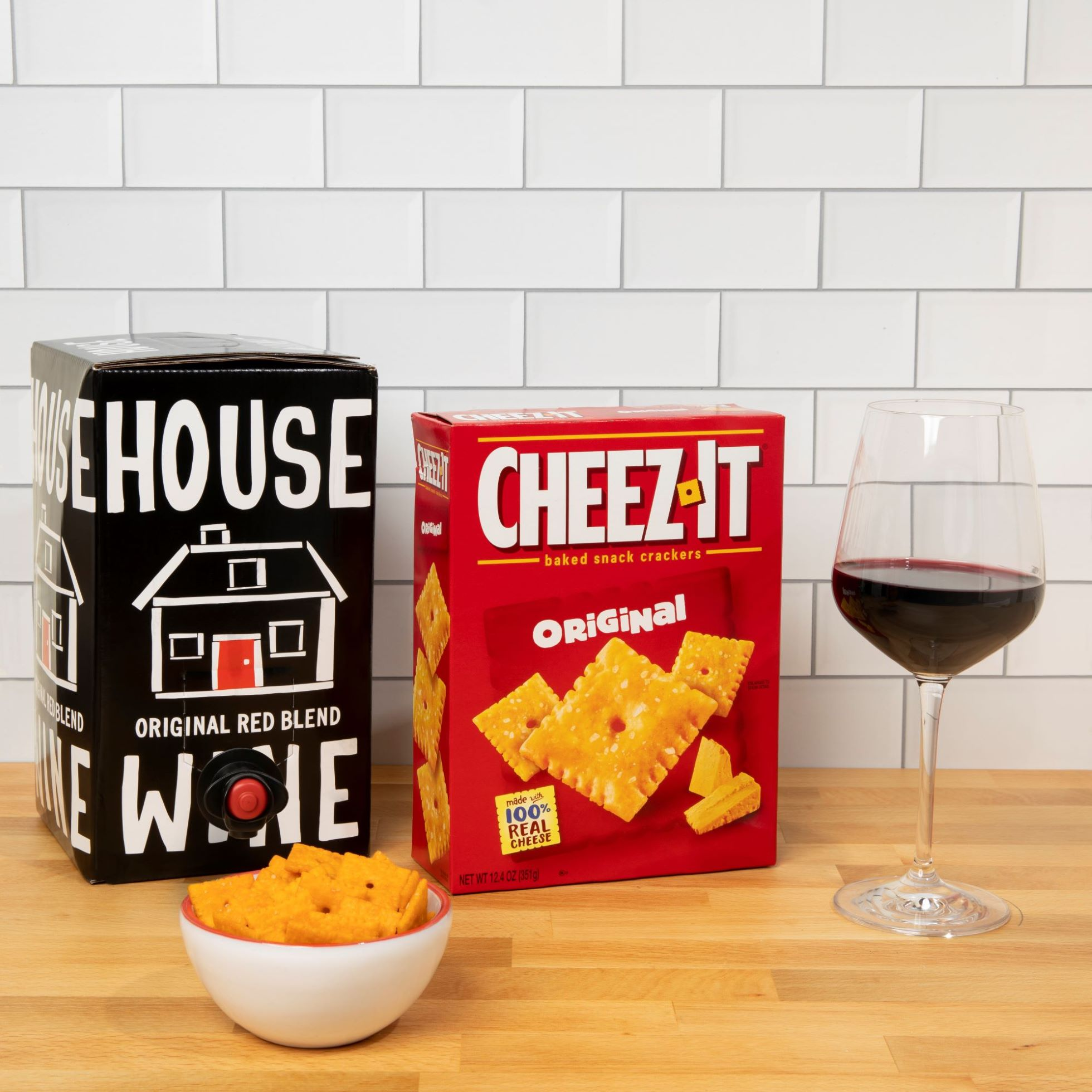 House Wine Red Blend box and Cheez-It original crackers on counter